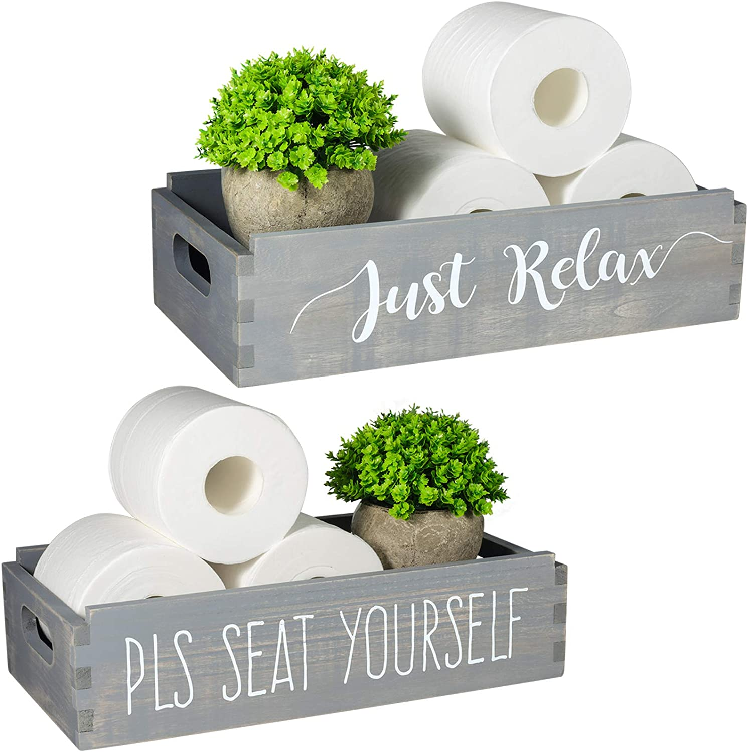 TJ.MOREE Please Seat Yourself/Just Relax Bathroom Decor Box Home Decor Mason Jars and Artificial Flower Box Farmhouse New Home Housewarming Gift Powder Room Decor Rustic Home Decor