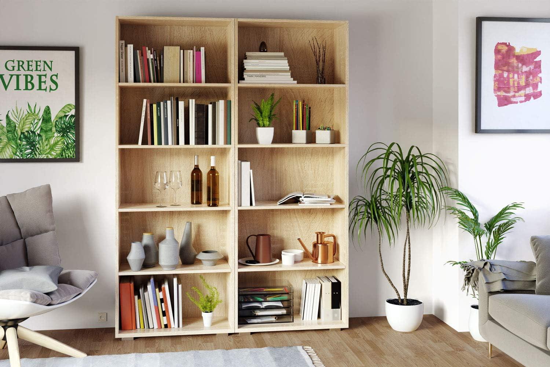 Deuba Libreria Scaffale Vela 190x60x31cm 5 Ripiani Mobile casa Ufficio Soggiorno archiviazione Marrone Effetto Rovere