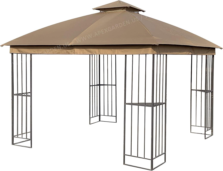 APEX GARDEN Canopy Top for Garden Treasures 10 ft x 10 ft Brown Metal Square Semi- Gazebo Model #L-GZ038PST-F (Top Only) (Tan)