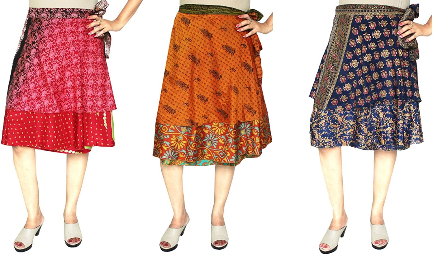 Maple Clothing Wholesale 3 Pcs Lot Two Layers Womens Indian Sari Magic Wrap Skirt