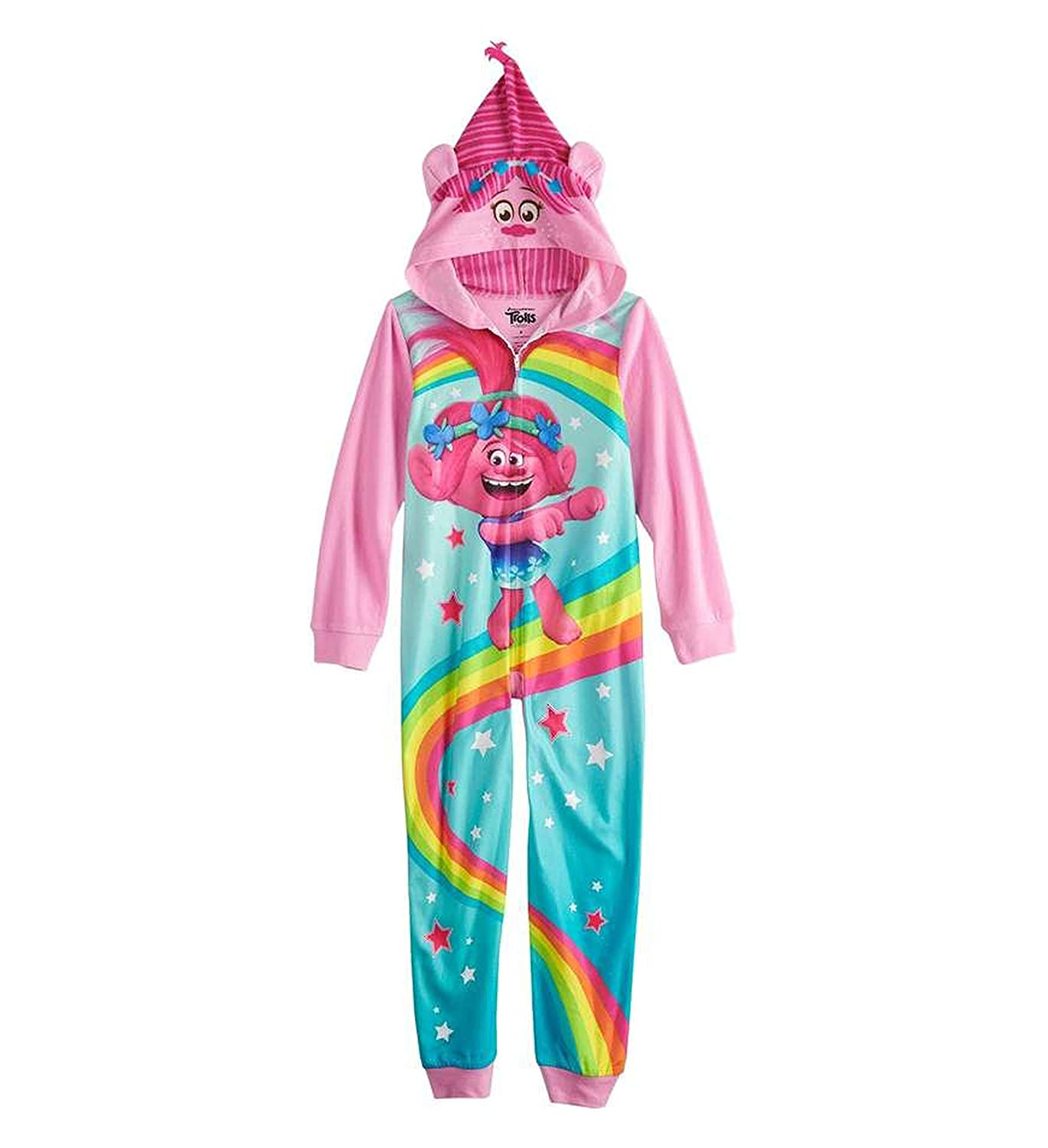my5kids Trolls Poppy One-Piece Hooded Fleece Union Suit Footless Pajamas