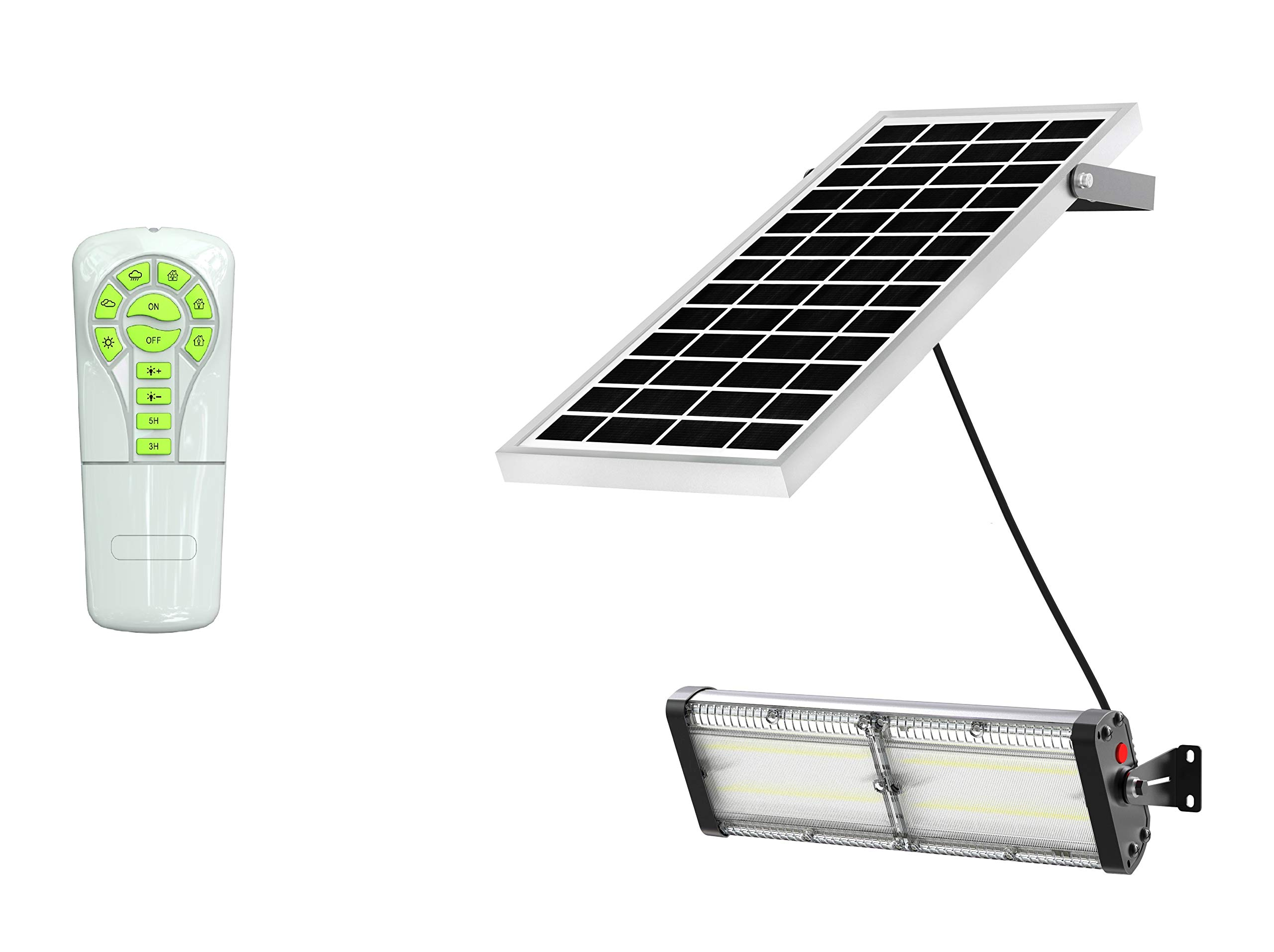 Solar LED Barn Light, 12,000mah Li-ion Battery for Outdoor/Indoor Flood Light with Remote Control, 4,000 Lumen by SPC