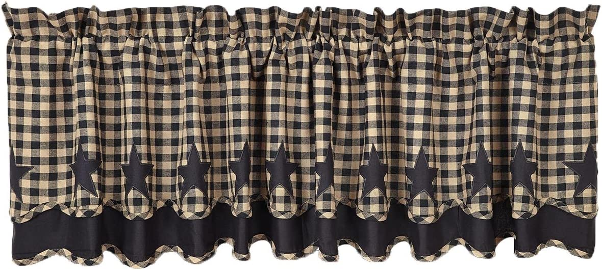 VHC Brands 20235 Black Star Scalloped Valance Layered Lined 16×72