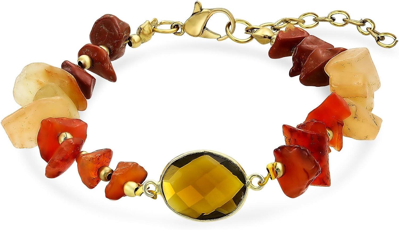 Bling Jewelry Boho Orgánicos Naranja Marrón Tierra Tone Multi Chip Pulsera De Piedras Preciosas De Moda Mujer Adolescente Ajustable