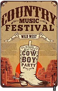 HOSNYE Country Music Festival Poster Tin Sign Party Flyer with Cowboy Boots Vintage Metal Tin Signs for Men Women Wall Art Decor for Home Bars Clubs Cafes 8x12 Inch