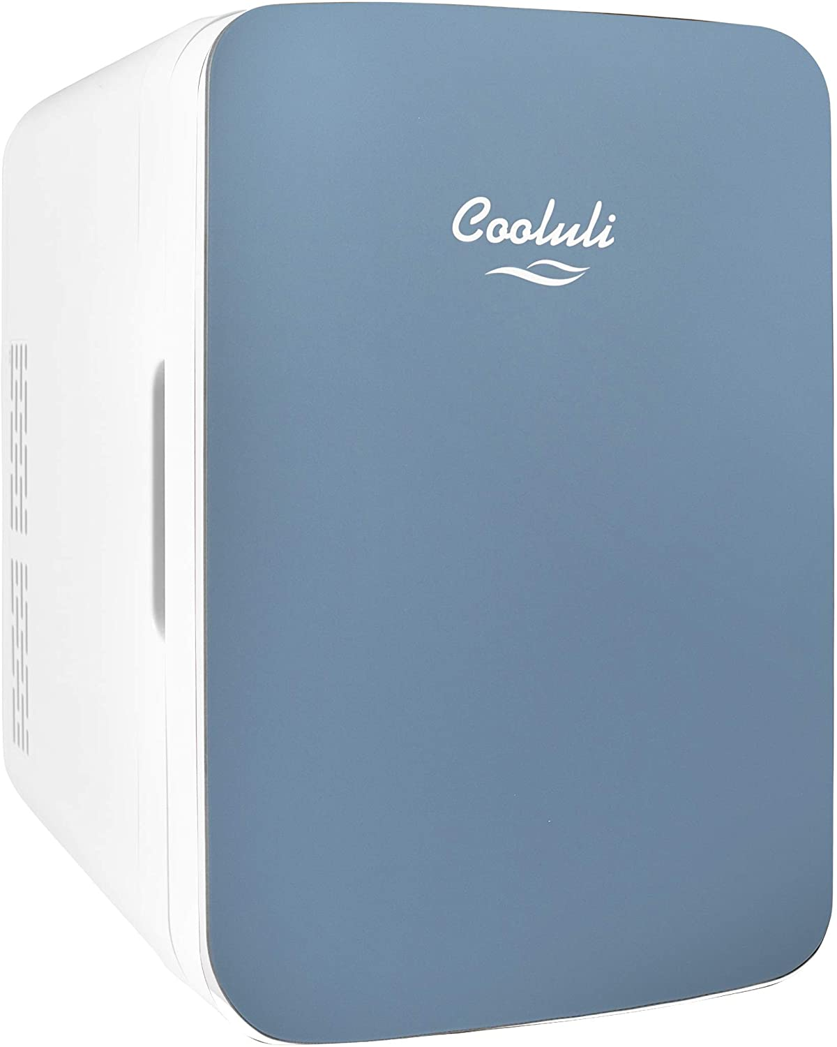 Cooluli Infinity Blue 10 Liter Compact Portable Cooler Warmer Mini Fridge for Bedroom, Office, Dorm, Car - Great for Skincare & Cosmetics (110-240V/12V)