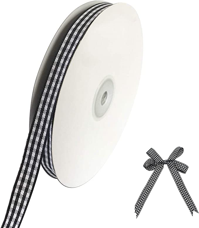 25 Yards Wide Plaid Ribbon Black and White Gingham Ribbon Taffeta Ribbon Black and White