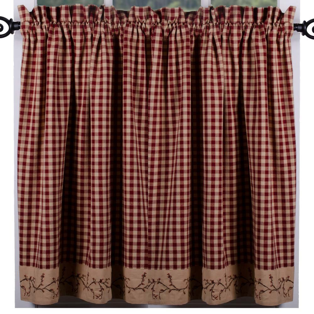 Primitive Home Decors Berry Vine Check Curtain Tiers - Barn Red by Primitive Home Decors