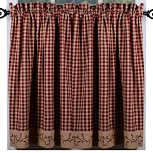 Primitive Home Decors Berry Vine Check Curtain Tiers - Barn Red