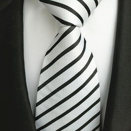 FYios Corbata Negra y Blanca, Corbatas Formales para Hombre ...