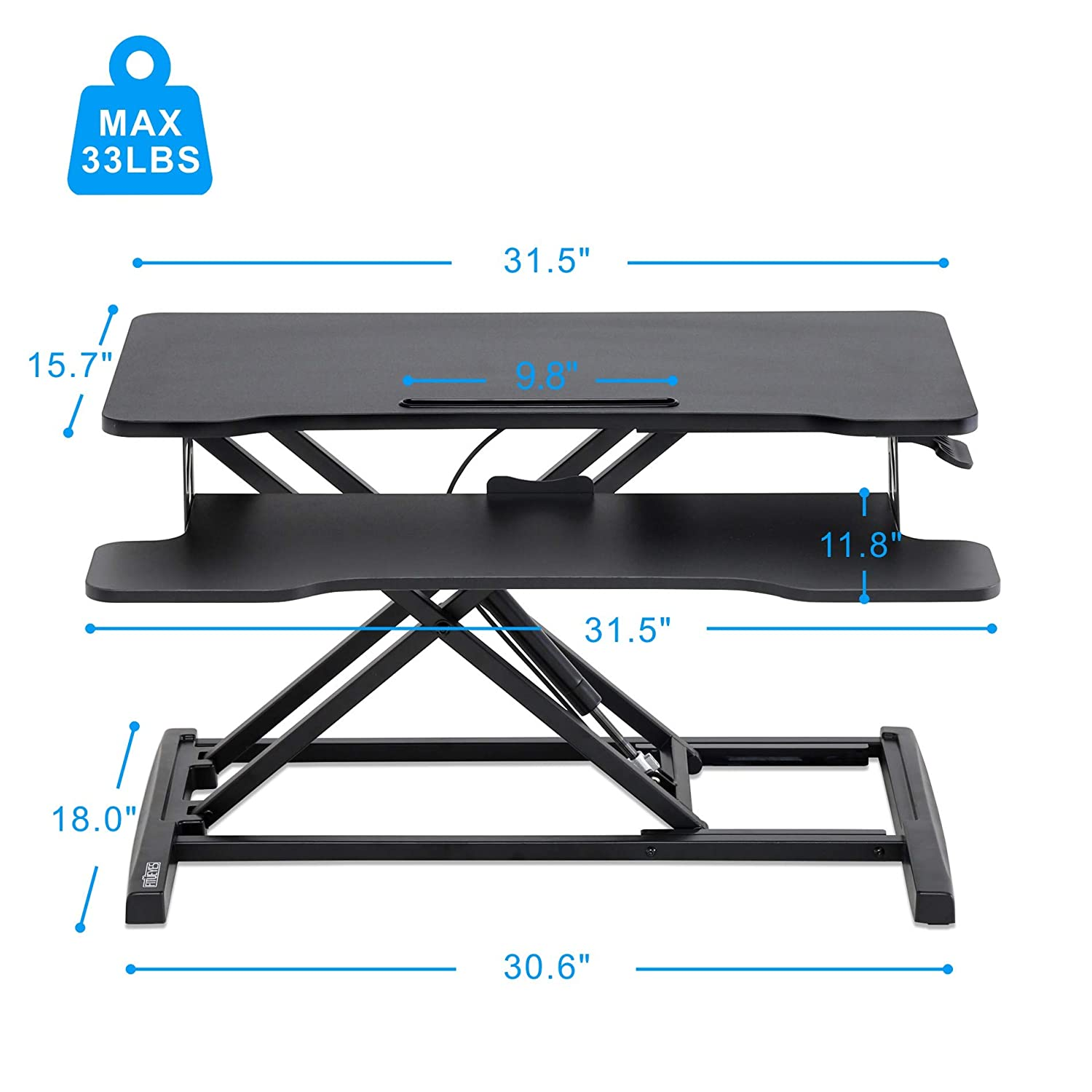 FITUEYES Height Adjustable Standing Desk 32 Wide Sit to Stand Converter Stand Up Desk Tabletop Workstation for Dual Monitor Riser SD308001WB
