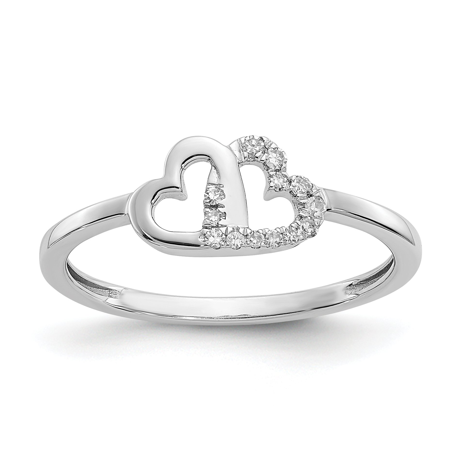 ICE CARATS 14k White Gold Diamond Double Heart Band Ring Size 7.00 S/love Fine Jewelry Gift Set For Women Heart