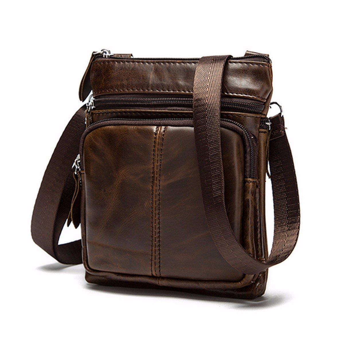 OURBAG Casual Men Vintage Shoulder Bag Messenger Crossbody Bags Handbag Coffee