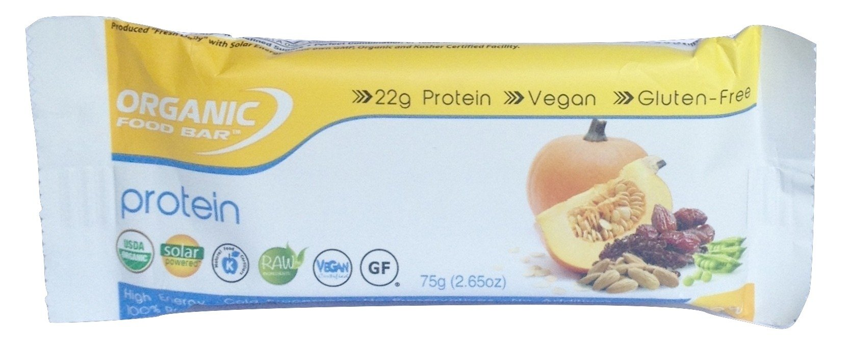 Organic Food Bar Raw Protein Bar, 75g bars (Pack of 12 bars), 22g Protein per Bar
