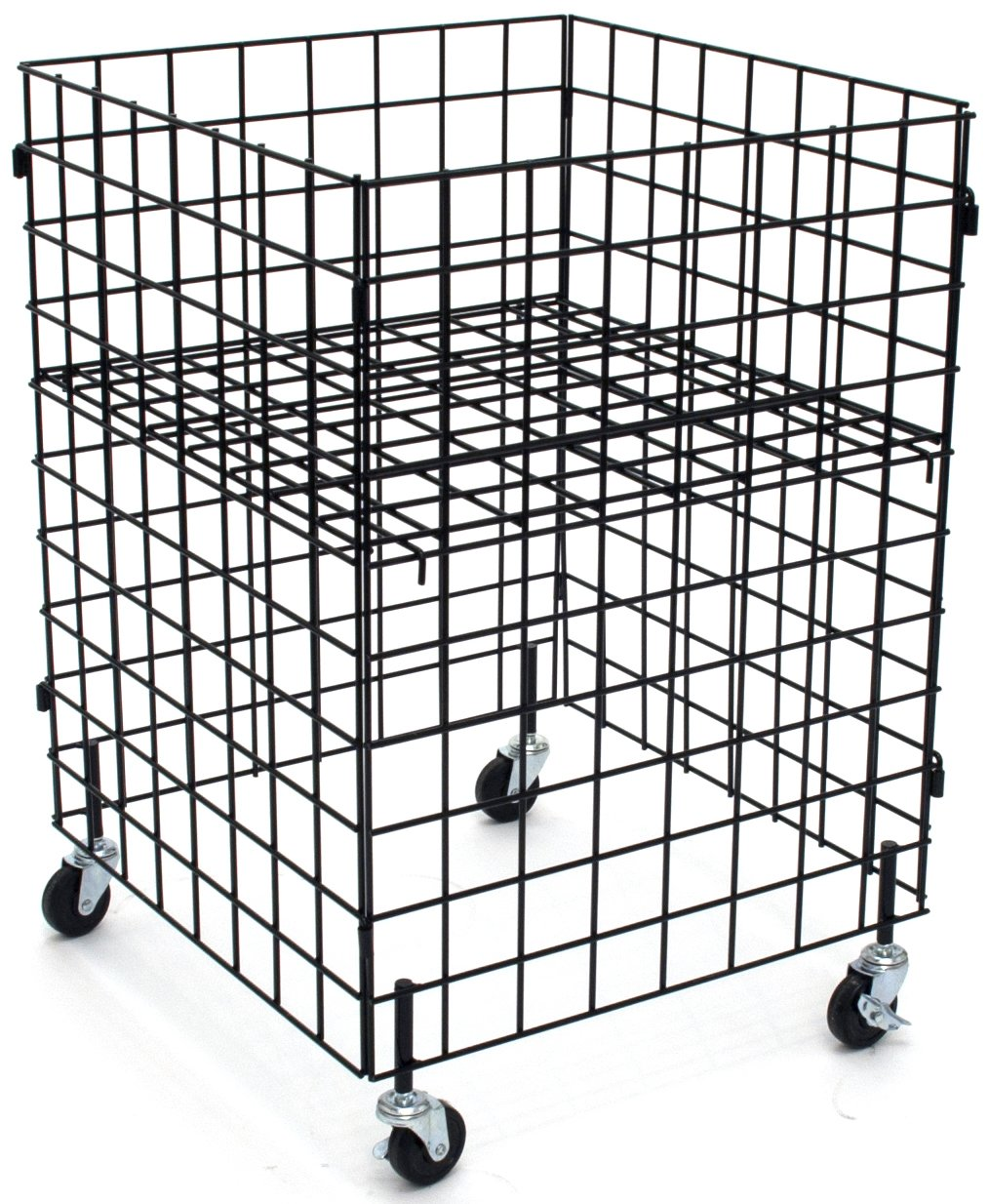KC Store Fixtures 54106 Grid Dump Bin with Casters, 24'' x 24'' x 34'' High, Black