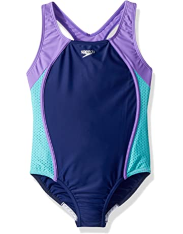 ea8c68ea56 Speedo Girls Mesh Splice Thick Strap One Piece Swimsuit