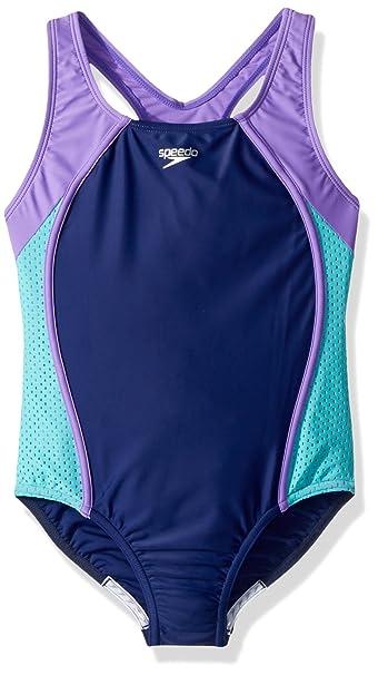 7e2c6305031 Amazon.com : Speedo Girls Mesh Splice Thick Strap One Piece Swimsuit :  Clothing