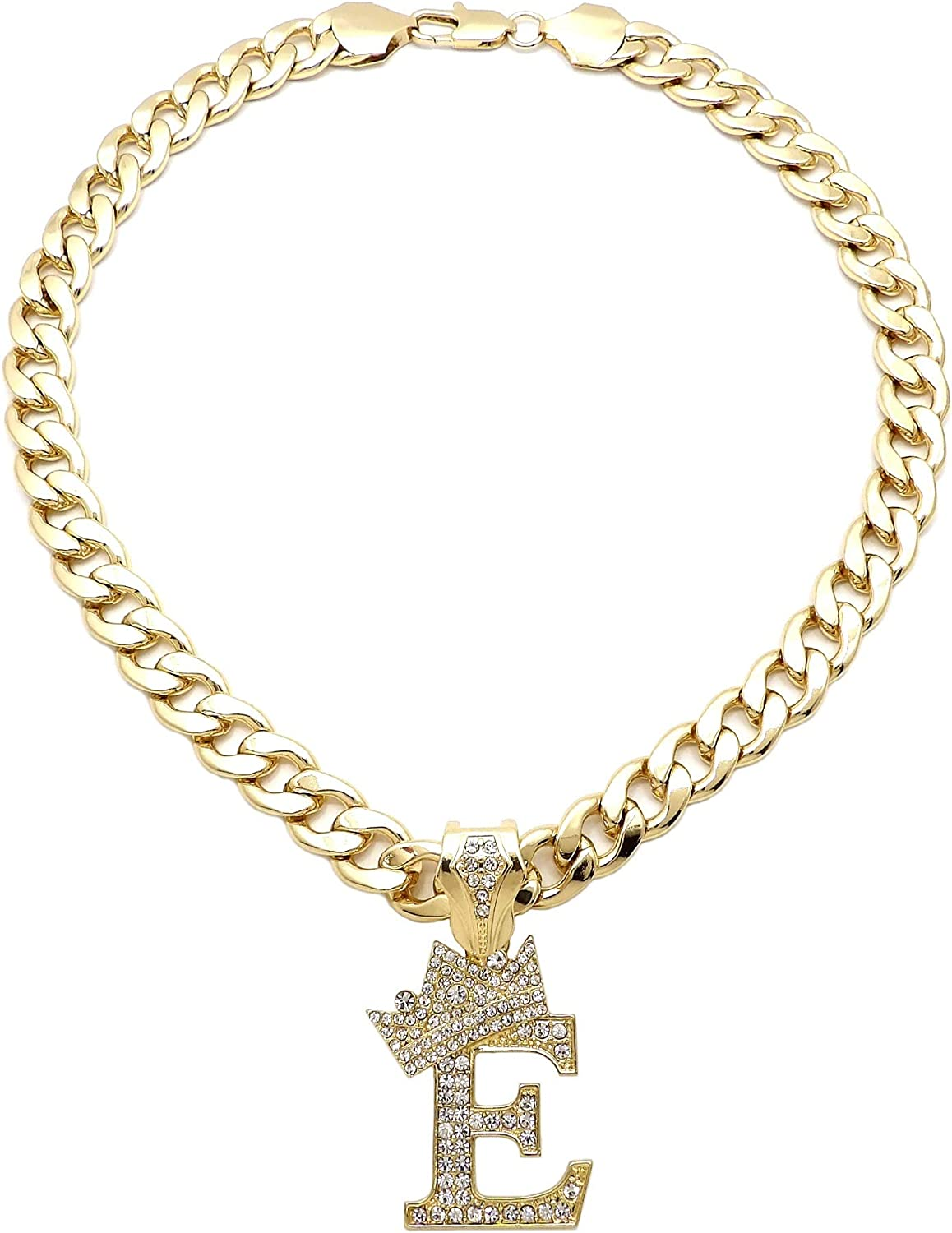 SJ ICED Out Alphabet Letter Pendant /& 11mm//20 Cuban Chain Gold Plated Necklaces RC3399G