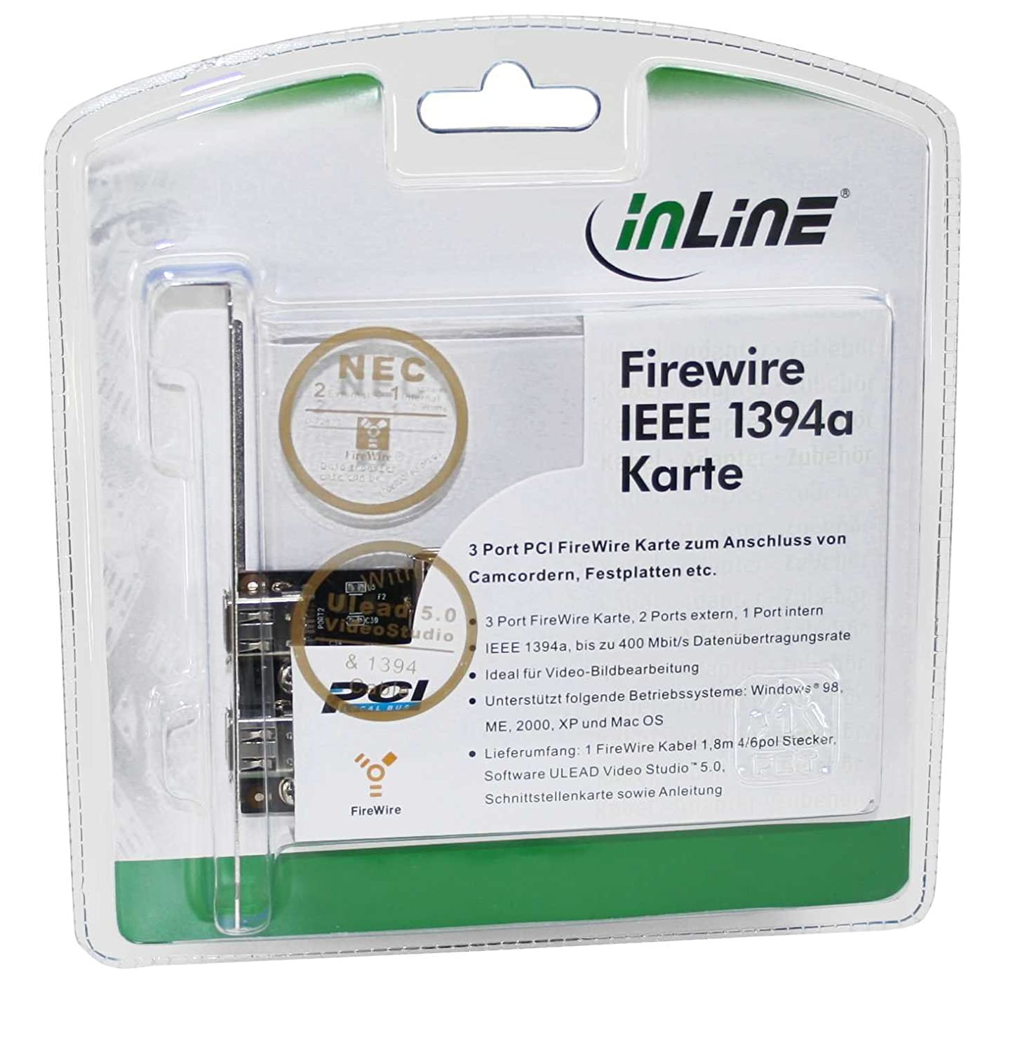 InLine® FireWire IEEE 1394 a PCI Card with ULEAD VIDEO STUDIO 5.0 SE ...