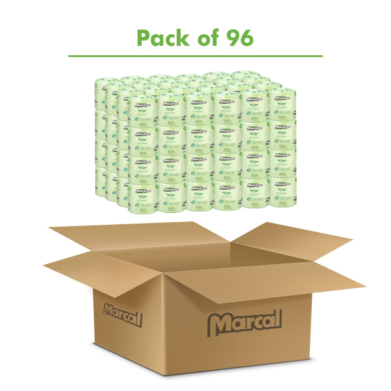 Marcal Pro Toilet Paper, 100% Recycled - 2-Ply, White, 500 Soft & Absorbent Sheets per Roll, 96 Rolls per Case - Green Seal Certified, Bulk Office Bath Tissue 05002 by Marcal (Image #2)