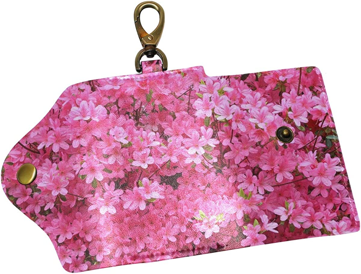 KEAKIA Pink Azalea Flowers Leather Key Case Wallets Tri-fold Key Holder Keychains with 6 Hooks 2 Slot Snap Closure for Men Women