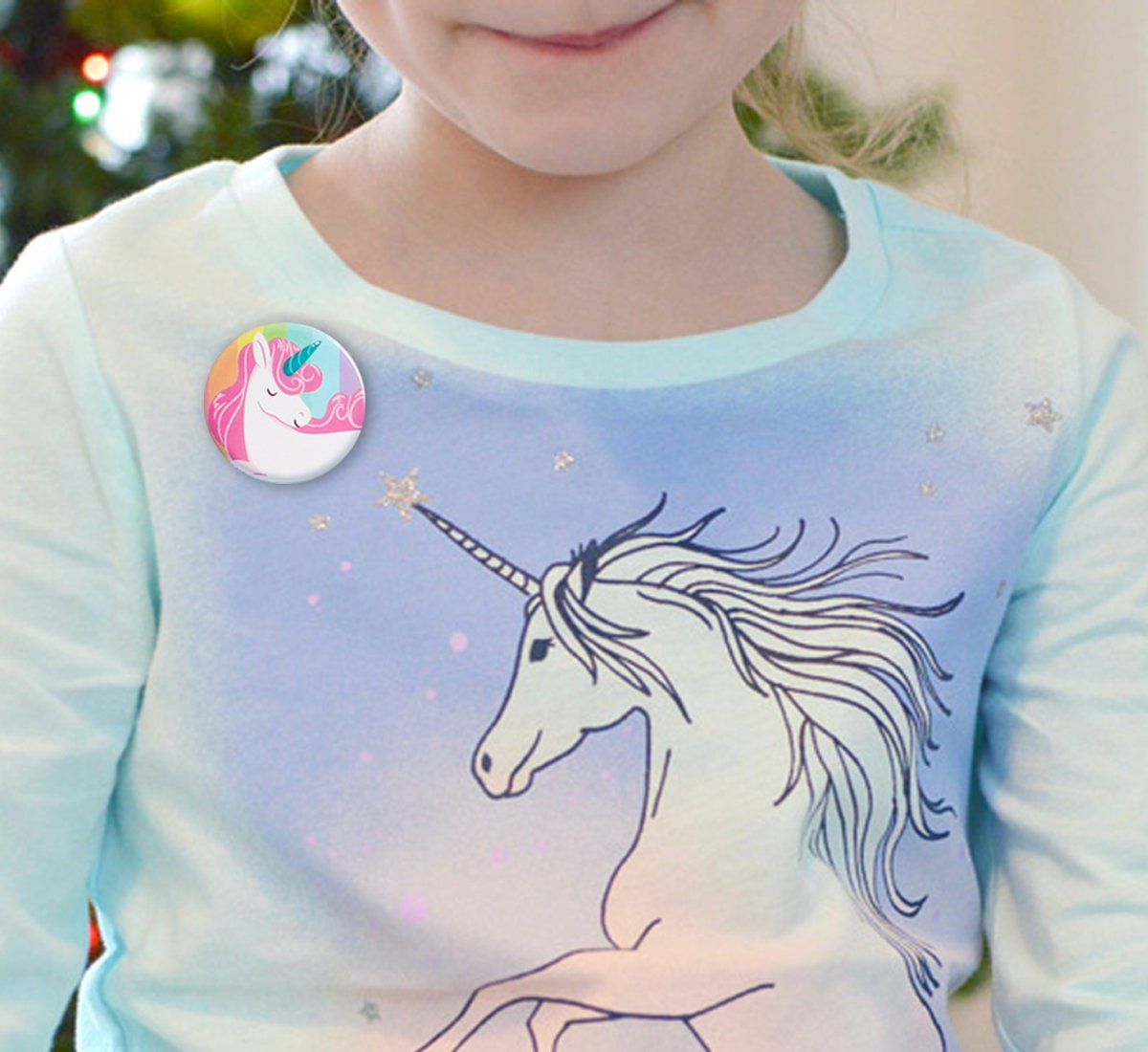 Geefuun Unicorn Pins Valentine's Day/Birthday Party Favors Decorations Girl Gift Badges Magical Rainbow Cards Supplies 8