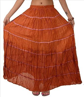 Faldas y bufandas mujeres nueva algodón falda larga maxi cinta ...