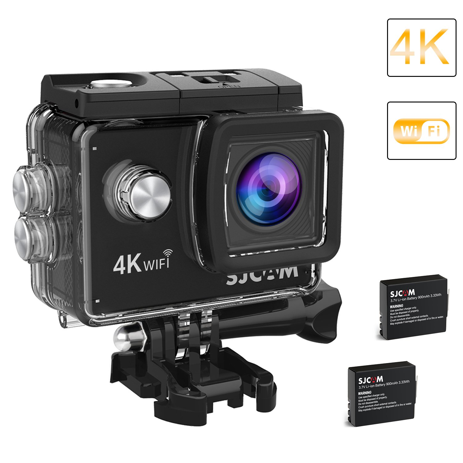2018-Original SJCAM SJ4000 Air Action Camera 4K WIFI Underwater Cam 16MP Ultra HD Waterproof Sports Camera 170°Wide-angle 2 Inch LCD Plus 2 Rechargeable 900mAh Batteries and Mounting Accessories Kit by HuRoyal