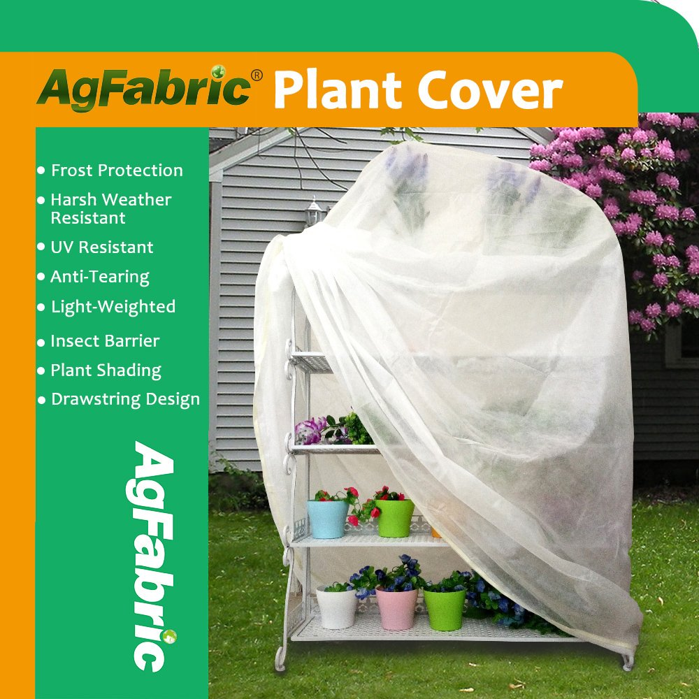 Agfabric Plant Cover Warm Worth Frost Blanket - 0.95 oz Fabric of 72''Hx72''Wx12'' Shrub Jacket, 3D Tube Plant Cover for Season Extension&Frost Protection,5 pack