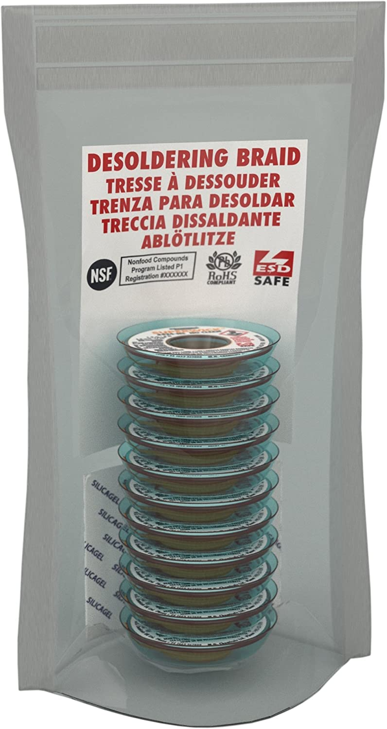Pack of 10 MG Chemicals Desoldering Braid #2 No Clean Fine Braid Super Wick with RMA Flux 5 Length x 0.05 Width