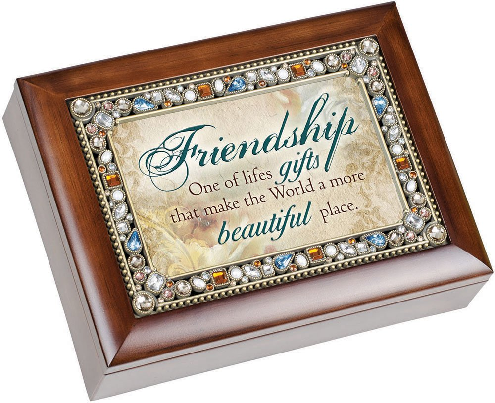 Friendship Life's Gifts Jewel Musical Music Jewelry Box with Dark Wood Finish Plays That's What Friends Are For by Cottage Garden (Image #1)