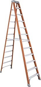 Louisville Ladder FS1512 12' Fiberglass Ladder, 12 Feet, Orange