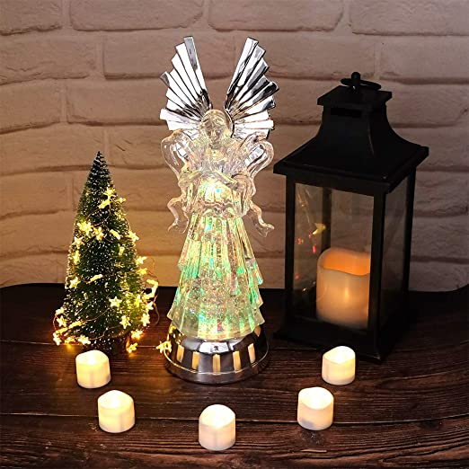 Tricolor Changing Swirling Glitter Angel Water Lamp Christmas Home Decoration Snow Globe 11 Inches, Reading DRomance LED Light Up Angel Figurine Battery Operated with 6H Timer