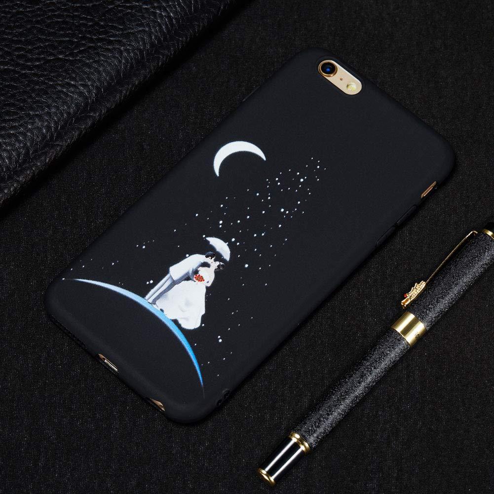 TPU Silicone Souple Noir Cover Ultra Mince Cas Solide Durable Anti-Chute Etui Housse Mobile T/él/éphone Case-Eye Coque pour iPhone 6//6S