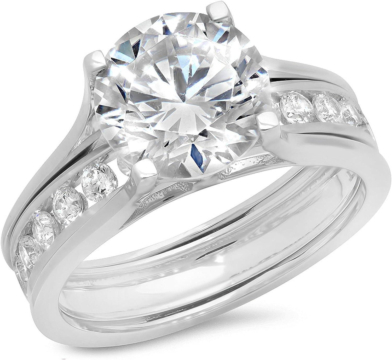 Clara Pucci 3.09 Ct Round Cut Halo Engagement Wedding Bridal Anniversary Sliding Ring Band Set 14K White Gold