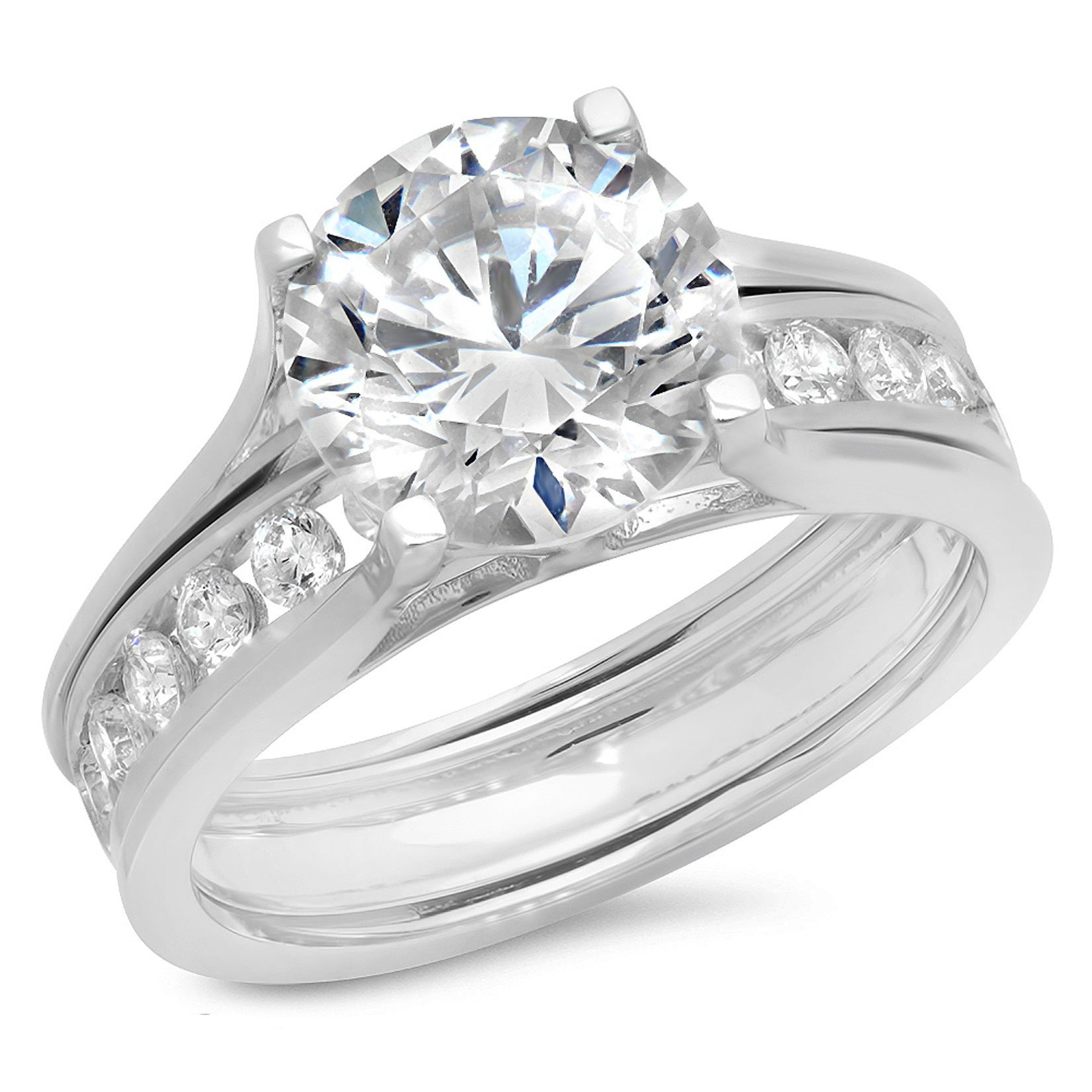 Clara Pucci 2.89 CT Round Cut CZ Halo Bridal Engagement Wedding Ring Sliding Band Set 14k White Gold, Size 7.5 by Clara Pucci