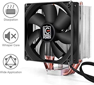 LC-POWER CPU Air Cooler,with 4 Cooper Heatpipes and 120mm Fan,Black