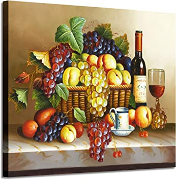 Vintage Wall Art Wine Pictures Red Wine Fruit Artwork Oil Painting On Canvas For Dining Room
