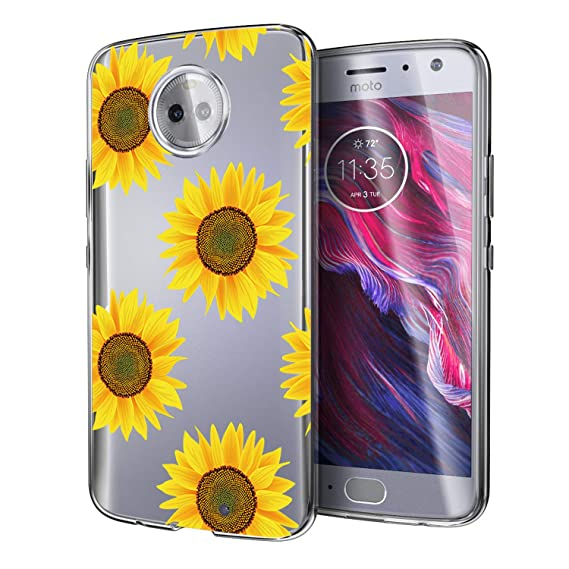 low priced 14856 a61b1 Moto X4 Case Sunflower, Android One Moto X4 Case, POKABOO Colorful Stylish  Flexible Slim Fit Clear Soft TPU Grip Protective Cover for Motorola Moto X4  ...