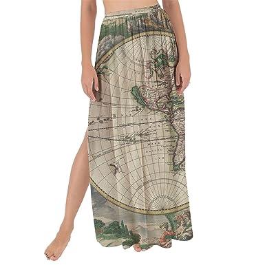 1689 Antique World Globe Map Maxi Sarong Skirt At Amazon Women S