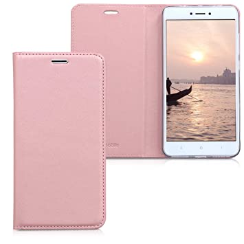 kwmobile Funda para Xiaomi Redmi Note 4 / Note 4X - Carcasa para móvil de [Cuero sintético] - Case [Plegable] en [Rosa Claro]