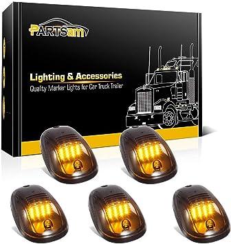 5pcs Smoke Lens Car Truck Cab Roof Top Marker Running Lights Cover /& Lamp-Socket