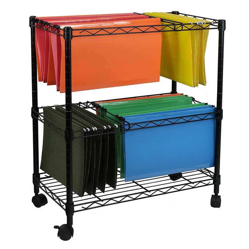 Wegi King Mobile File Cart Wire Metal Rolling Letter Legal 2-Tier File Carts Compact Swivel File Storage Organizer Shelf - Black