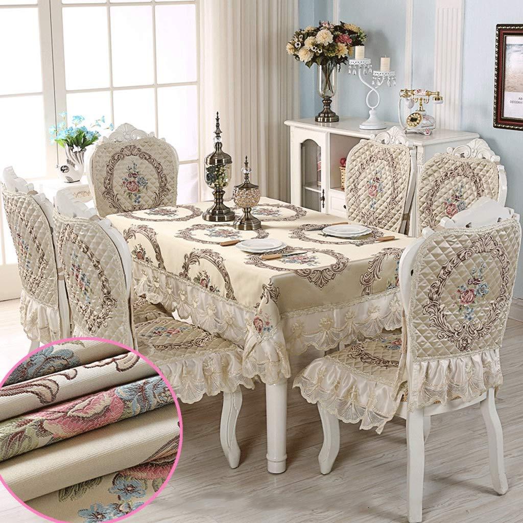 RFQL テーブルクロス、テーブルカバー テーブルクロスホームモダン、長方形テーブルクロス、ストレッチダイニングチェアカバー付き4/6チェア、取り外し可能、洗える、4色 (色 : A, サイズ さいず : 4 chairs+130*180cm) 4 chairs+130*180cm A B07S3ZGSPT