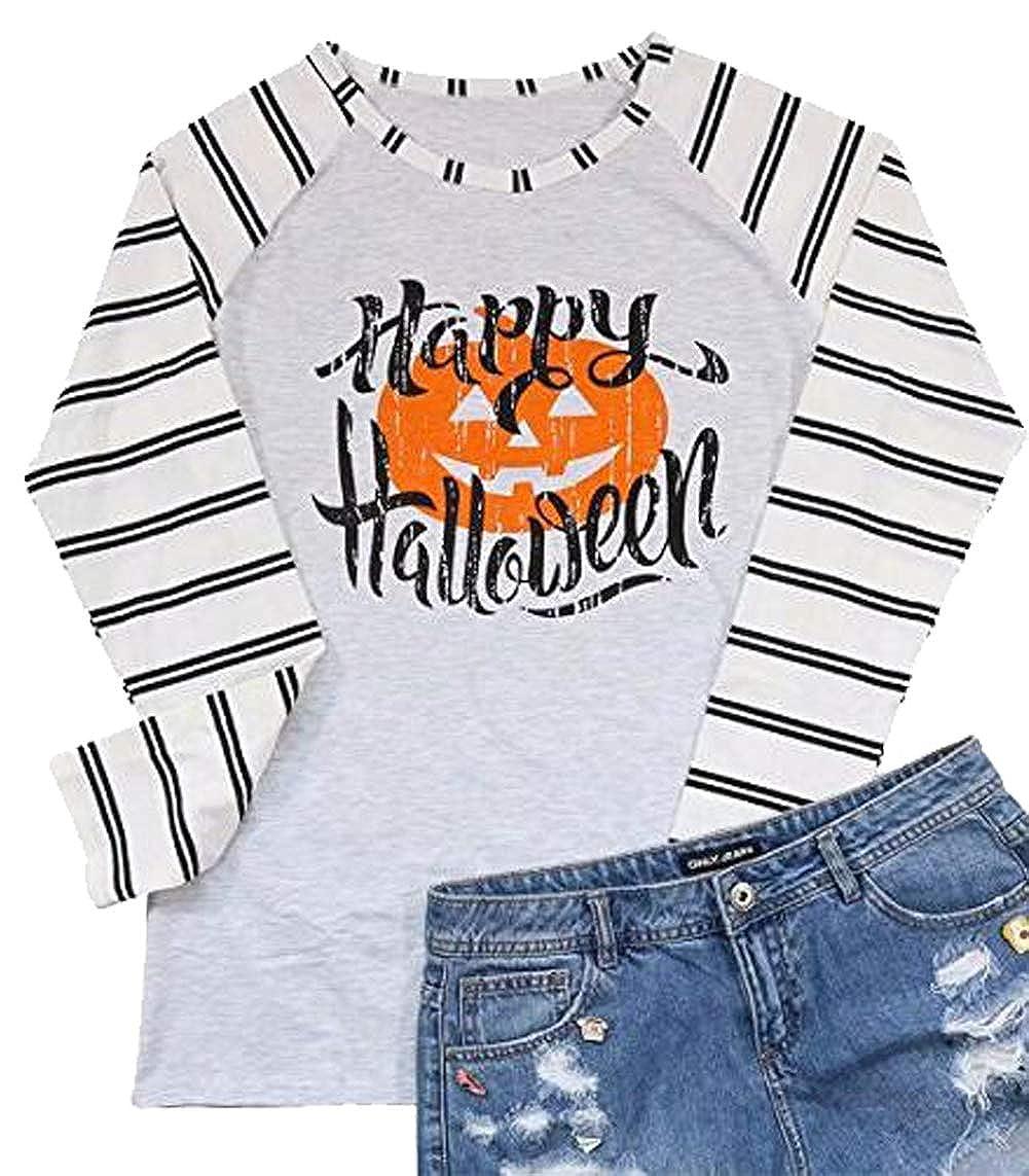 NANYUAYA Women Happy Halloween Letter Print Tees Pumpkin Face Raglan Sleeve T-Shirt
