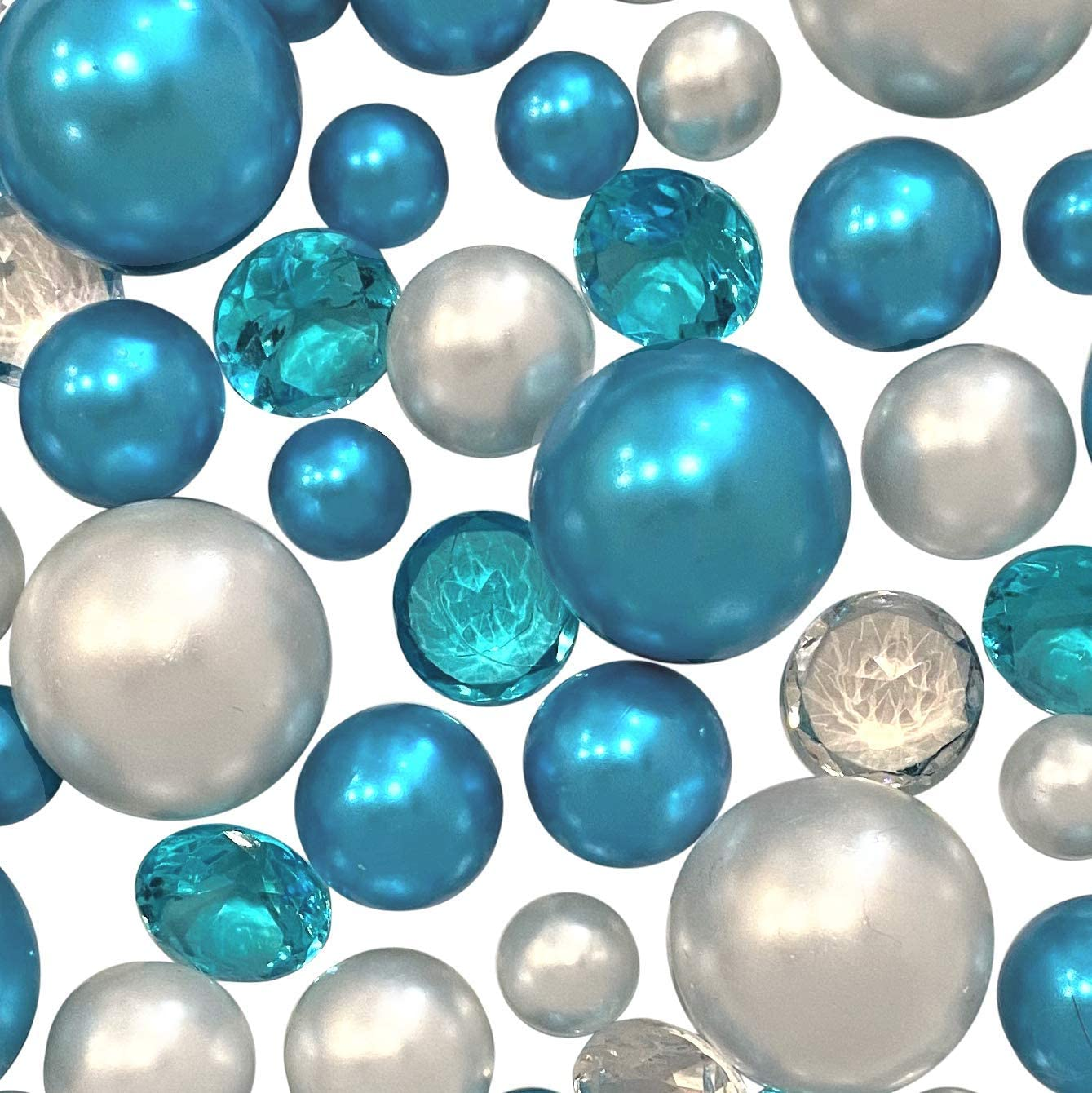120 Blue Turquoise & White Pearls & Matching Gems - No Hole Jumbo/Assorted Sizes Vase Decorations & Table Scatters - to Float The Pearls Order The Floating Option from Size Menu Below