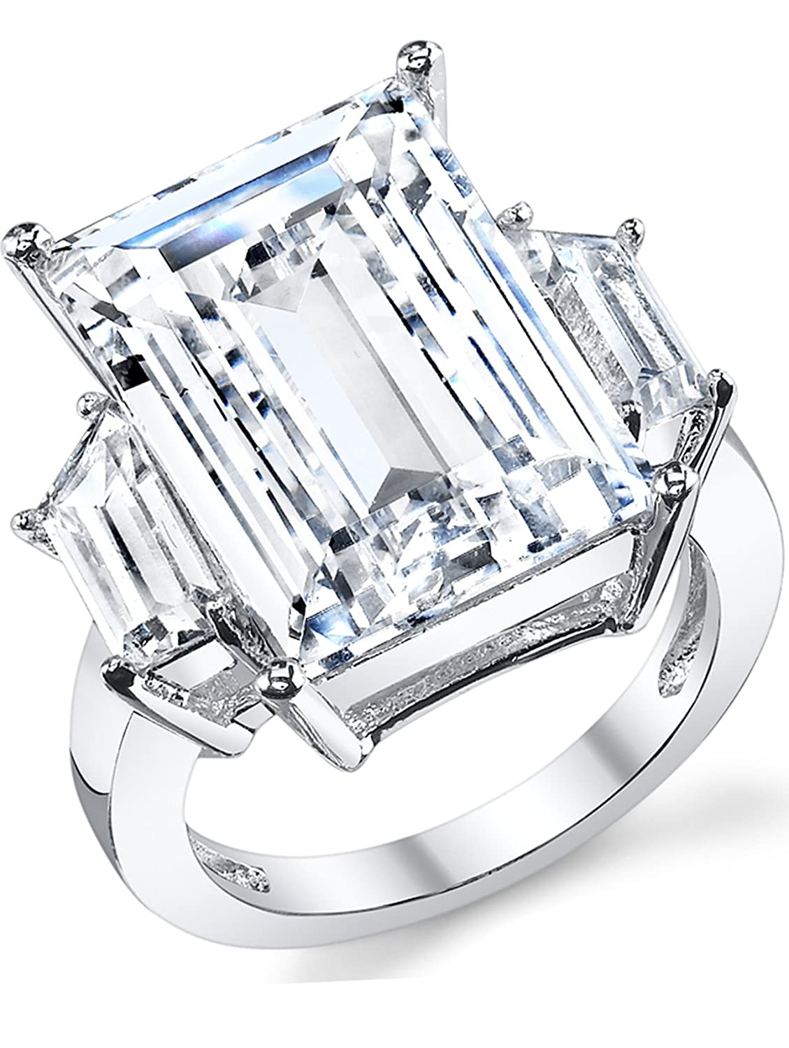 Kim Kardashian Sterling Silver Engagement Wedding Ring With Large Carat Emerald Cut Cubic Zirconia Cz