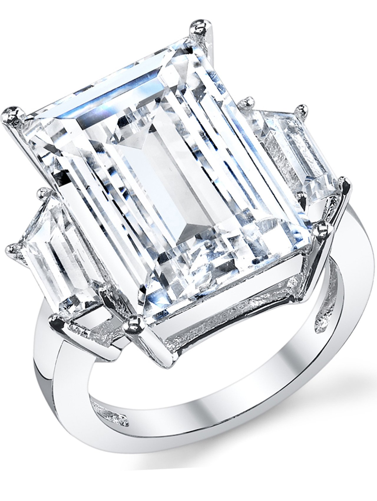 Kim Kardashian Sterling Silver Engagement Wedding Ring with Large Carat Emerald Cut Cubic Zirconia CZ 7