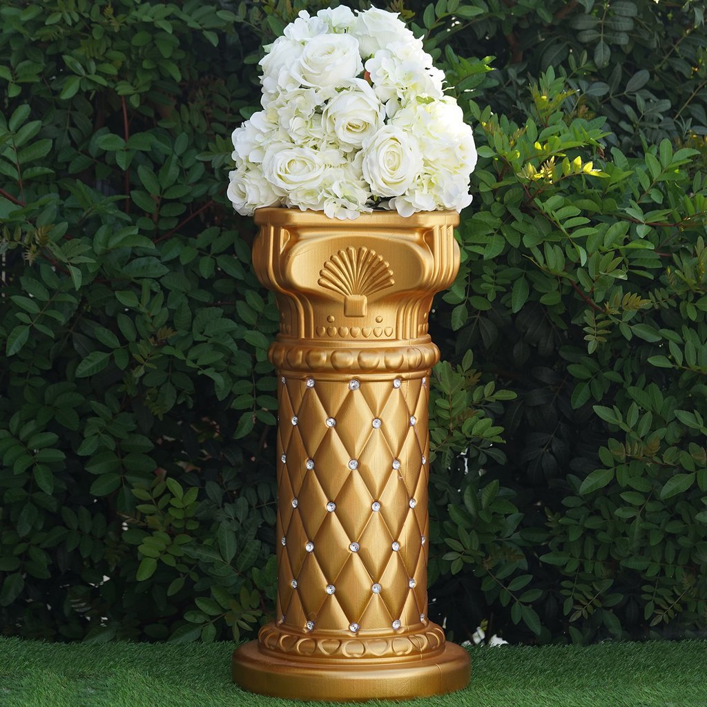 Efavormart 10mm Crystal Bead Studded Gold Event Aisle Pillars With Mirror Mosaic Party Event Decoration - 25.25''x 10'' - 4PCS