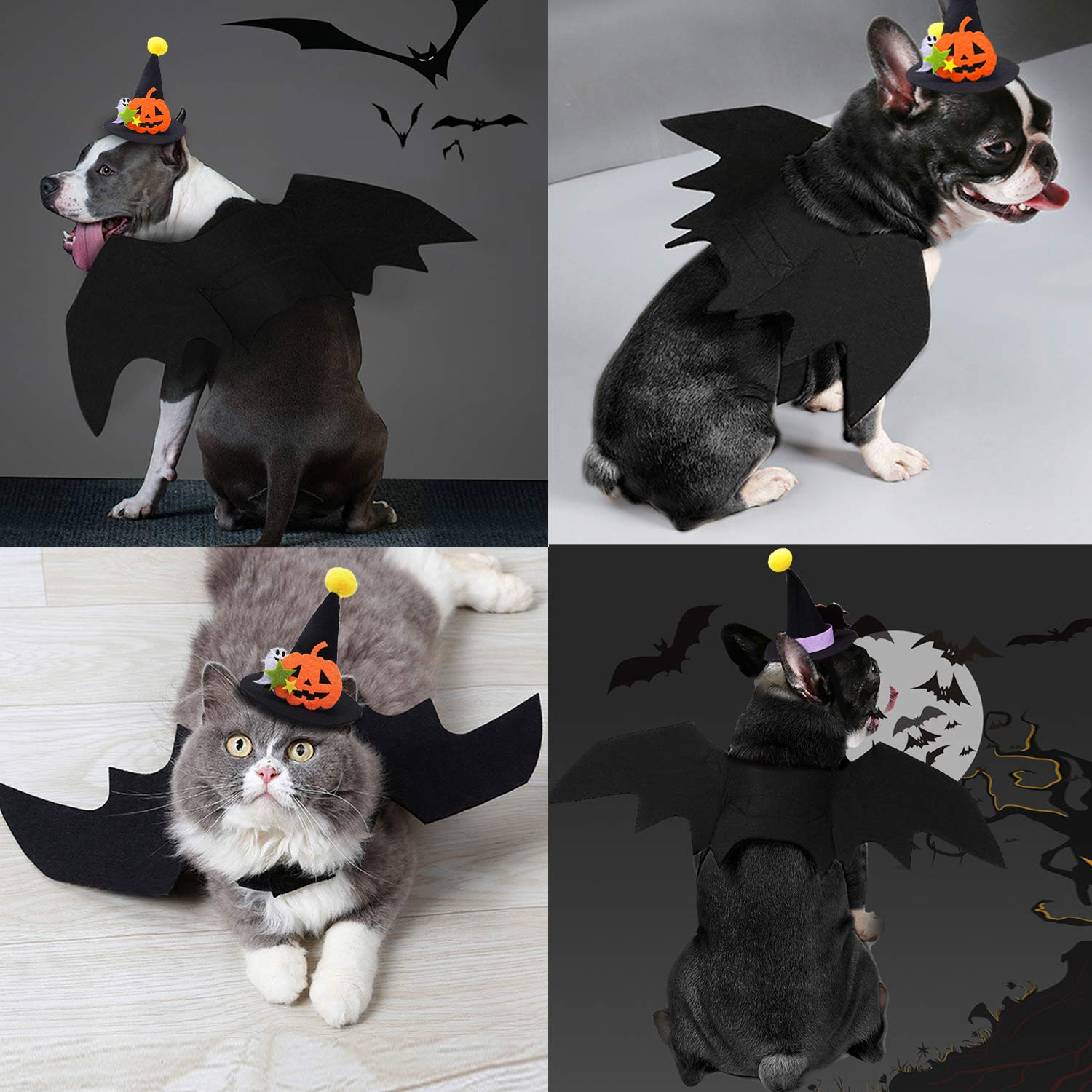 Fansport Halloween Pet Bat Wings Costume Cat Dog Bat Wings Costume with Pet Party Hat for Halloween